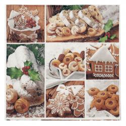 Салфетка HOME FASHION 33x33 см трипластова Stollen and Cookies-1 брой