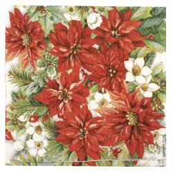 Салфетка за декупаж Ambiente 33x33 см трипластова Poinsettia all Over -1 брой