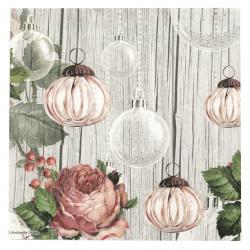 Салфетка за декупаж Ambiente 33x33 см трипластова Roses and Baubles -1 брой