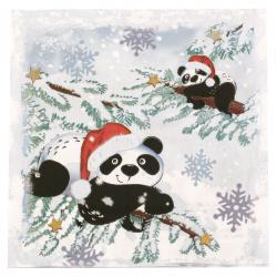 Салфетка за декупаж Ambiente 33x33 см трипластова Pandas in Snow-1 брой