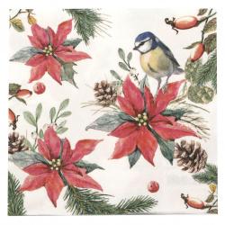 Χαρτοπετσέτα Ambiente 33x33 εκ Bird on Poinsetti 1 τεμάχιο