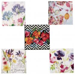 Салфетки за декупаж ti-flair 33x33 см трипластови 5 дизайна -5 броя - цветя