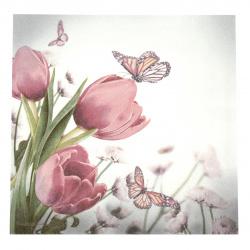 Салфетка за декупаж Ambiente 33x33 см трипластова Butterfly and Tulips -1 брой