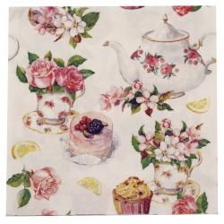 Șervețel Decoupage Ambiente 33x33 cm Flori în trei straturi în ceașca de ceai -1 buc