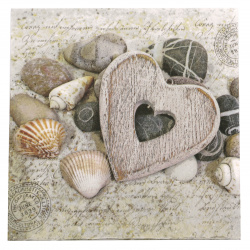 Салфетка за декупаж Ambiente 33x33 см трипластова Hearts And Stones -1 брой