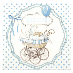 Decoupage napkin Ambiente 33x33 cm three-layer Welcome Blue -1 piece