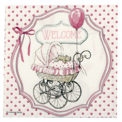 Decoupage napkin Ambiente 33x33 cm three-layer Welcome Pink -1 piece