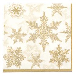 Салфетка за декупаж Ambiente 33x33 см трипластова Snow Crystals Gold/White -1 брой