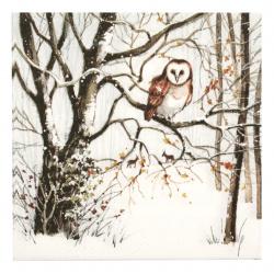 Салфетка за декупаж Ambiente 33x33 см трипластова Winter Owl -1 брой