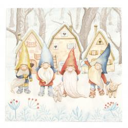 Салфетка за декупаж Ambiente 33x33 см трипластова Gnomes -1 брой