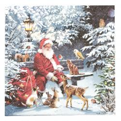 Салфетка за декупаж Ambiente 33x33 см трипластова Santa on Bench -1 брой