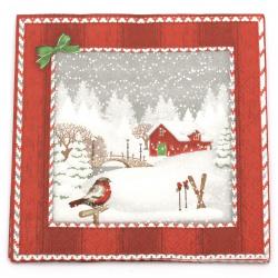 Салфетка за декупаж Ambiente 33x33 см трипластова Snowfall -1 брой