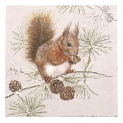 Салфетка за декупаж Ambiente 33x33 см трипластова Squirrel in Winter -1 брой