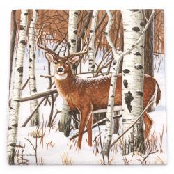 Салфетка за декупаж Ambiente 33x33 см трипластова Deer in Forest -1 брой