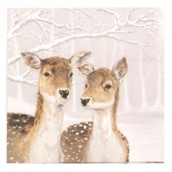 Салфетка за декупаж Ambiente 33x33 см трипластова Fallow Deer in Winter -1 брой