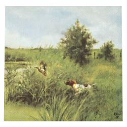 Салфетка за декупаж Ambiente 33x33 см трипластова Dog Hunts Ducks -1 брой