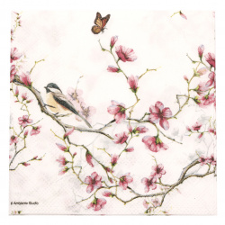 Салфетка за декупаж Ambiente 25x25 см трипластова Bird end Blossom White -1 брой