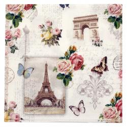 Салфетка за декупаж Ambiente 25x25 см трипластова Paris Monuments -1 брой
