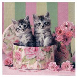 Салфетка за декупаж Ambiente 25x25 см трипластова Cats in Box -1 брой