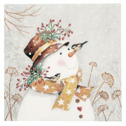 Салфетка ti-flair 33x33 см трипластова Snowman with Golden Scarf -1 брой