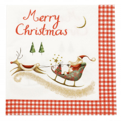 Șervețel ti-flair 33x33 cm trei straturi Craciun fericit cu Moș Crăciun -1 buc