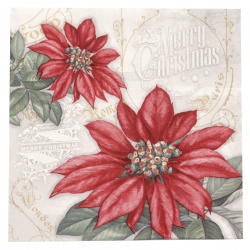 Салфетка ti-flair 33x33 см трипластова Flores de la Navidad red -1 брой