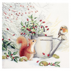 Салфетка ti-flair 33x33 см трипластова Red Squirrel and Robin -1 брой