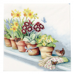 Салфетка ti-flair 33x33 см трипластова Windowsill with Flower Pots -1 брой