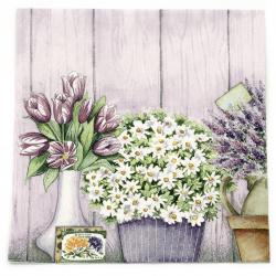 Салфетка ti-flair 33x33 см трипластова Lilac Flowers with Heart -1 брой