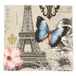 Салфетка за декупаж Ambiente 33x33 см трипластова Ici Paris -1 брой