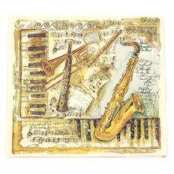 Șervețel decoupage Ambiente 33x33 cm Instrumente muzicale cu trei straturi -1 bucată