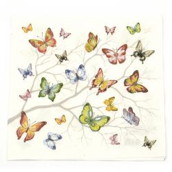 Șervețel Decoupage Ambiente 33x33 cm Fluturi colorate cu trei straturi -1 bucată