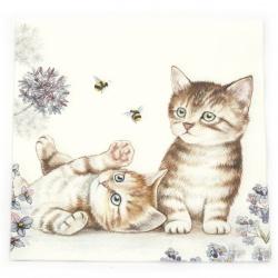 Салфетка за декупаж Ambiente 33x33 см трипластова Cats and Bees -1 брой