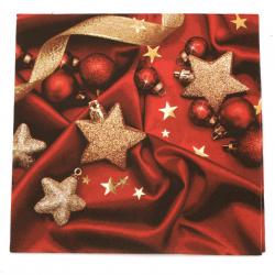 Салфетка ti-flair 33x33 см трипластова  Baubles on Red Silk  -1 брой