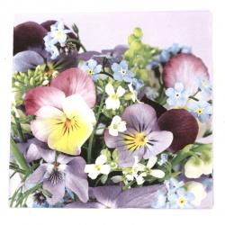 Салфетка ti-flair 33x33 см трипластова  Violets and Forget Me Not  -1 брой