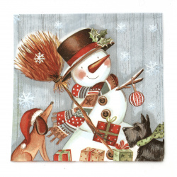 Салфетка ti-flair 33x33 см трипластова  Snowman with Broomstick  -1 брой