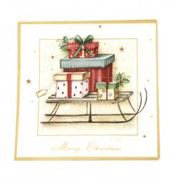 Салфетка ti-flair 33x33 см трипластова  Merry Christmas Sleigh  -1 брой