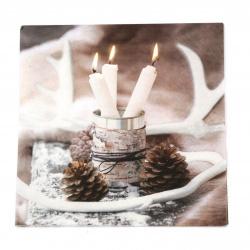 Салфетка ti-flair 33x33 см трипластова  White Candles in Tin Can  -1 брой