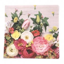 Салфетка ti-flair 33x33 см трипластова  Fleurs Tendres  -1 брой