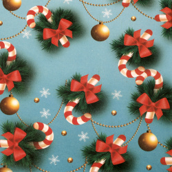 Christmas Wrapping Paper 510x750 mm Candy Cane, Pale Blue