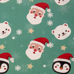 Christmas Wrapping Paper 510x750 mm Santa Claus and Cute Animals, Mint Green