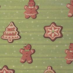 Ambalare hârtie 510x750 mm Biscuiți de Crăciun culoare verde