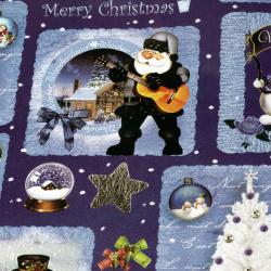 Ambalează hârtie 510x750 mm Moș Crăciun cu chitară de culoare albastră