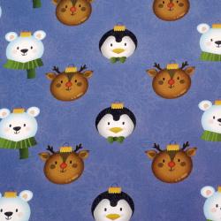 Ambalare hârtie 510x750 mm Arbore de Crăciun pentru animale de culoare albastru