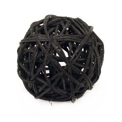 Rattan Ball, Wooden, Decoration, Craft Projects, DIY 70 mm black