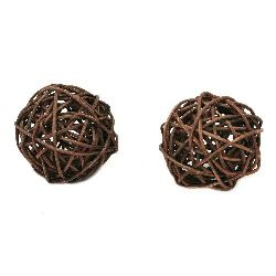 Rattan Ball, Wooden, Decoration, Craft Projects, DIY 50 mm brown -2 pieces