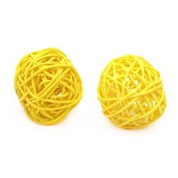 Rattan Ball, Wooden, Decoration, Craft Projects, DIY 50 mm yellow - 2  pieces