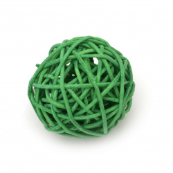 Rattan Ball, Wooden, Decoration, Craft Projects, DIY 50 mm green - 2 pieces