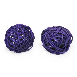 Rattan Ball, Wooden, Decoration, Craft Projects, DIY 50 mm purple - 2 pieces