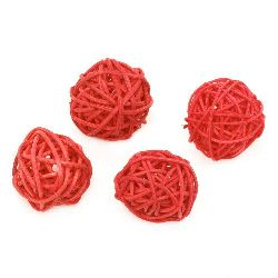 Rattan Ball, Wooden, Decoration, Craft Projects, DIY 30 mm red - 4 pieces